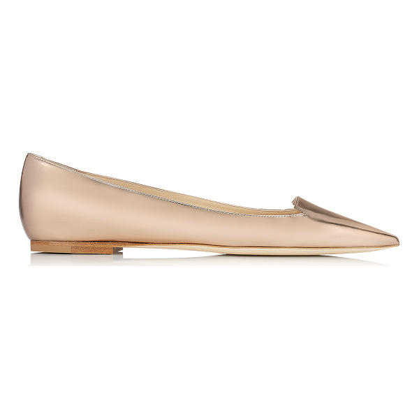 JIMMY CHOO Attila nude mirror leather pointy toe flat pumps - Wear these dainty flat pumps, with cute cut out toe line,...