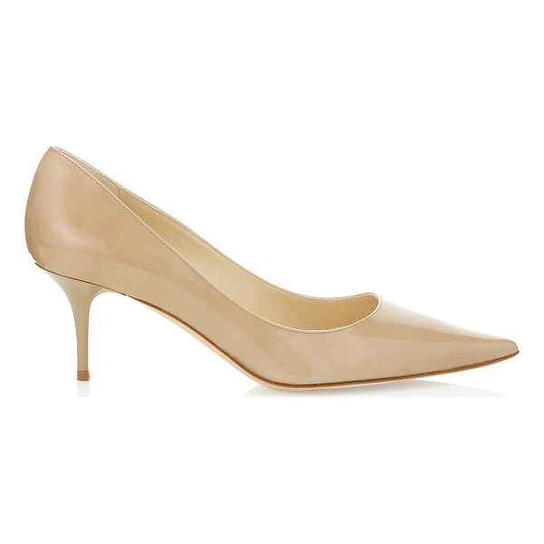 JIMMY CHOO Aurora nude patent leather pointy toe pumps - For daytime chic choose these timeless pointed toe court...
