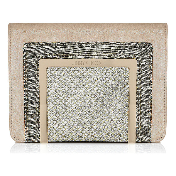 JIMMY CHOO Ava champagne shimmer suede and glitter fabric clutch bag - Ava is a new compact clutch bag for Jimmy Choo. It can be...