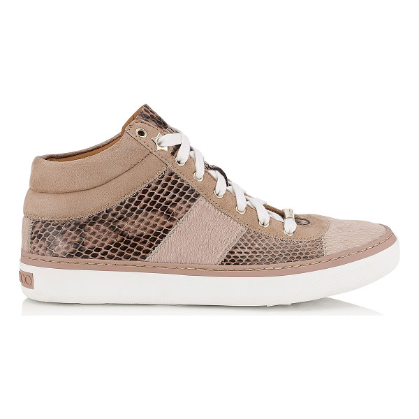 JIMMY CHOO Bells ballet pink pony, elaphe and suede trainers - A new trainer, that sits in between a high top and low top...
