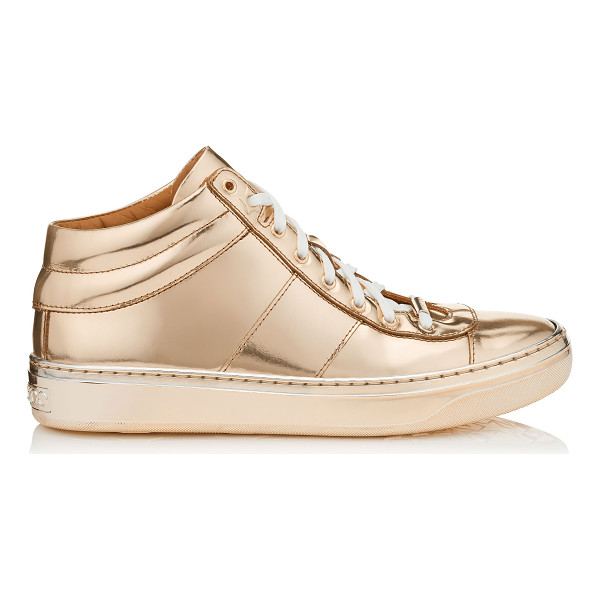 JIMMY CHOO Bells nude mirror leather trainers - A new trainer, that sits in between a high top and low top...