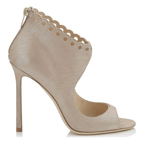 JIMMY CHOO BLYTHE 110 Sand Shimmer Suede Sandals - Making at statement this season is Blythe in sand shimmer...