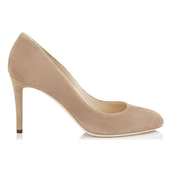 JIMMY CHOO BRIDGET 85 Ballet Pink Suede Round Toe Pumps - Bridget in ballet pink suede, is a new pump of the Jimmy...