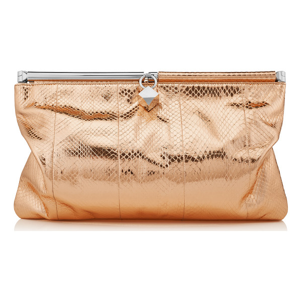 JIMMY CHOO Cadence nude metallic water snake clutch bag - A slouchy clutch bag that can take you from day to night....