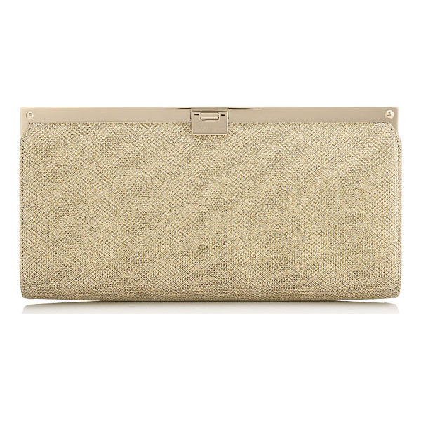 JIMMY CHOO CAMILLE Gold Lamé Glitter Clutch Bag - This strikingly beautiful clutch bag with a simple,...