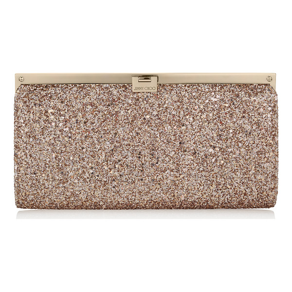 JIMMY CHOO Camille nude shadow coarse glitter fabric clutch bag - This strikingly beautiful clutch bag with a simple,...
