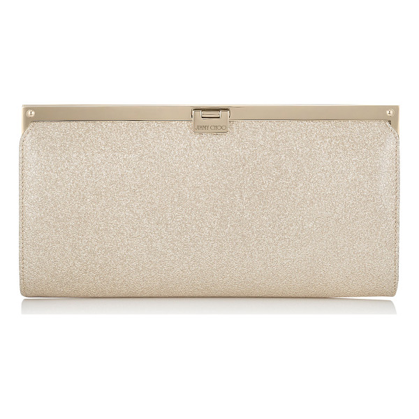 JIMMY CHOO Camille nude textured metallic patent clutch bag - This strikingly beautiful clutch bag with a simple,...