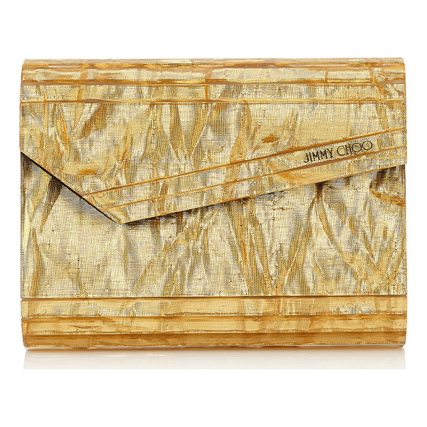 JIMMY CHOO CANDY Gold Crinkled Lamé Fabric Acrylic Clutch Bag - A decadent, compact gold crinkled lamé fabric acrylic box...