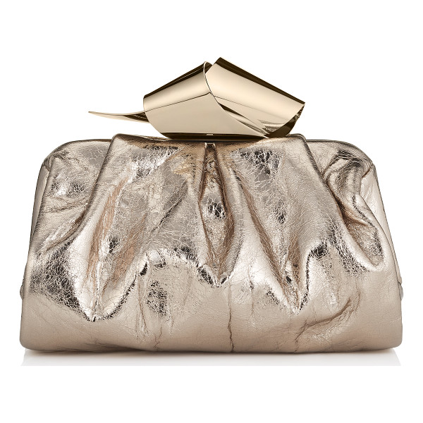 JIMMY CHOO Cara/s nude metallic crinkled lambskin slouchy clutch bag - A slouchy clutch bag, with a gently sculpted metal clasp...