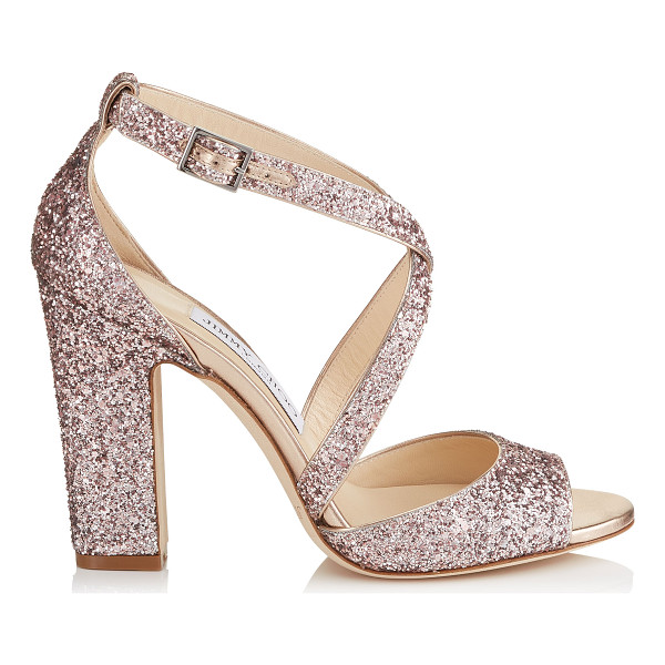 JIMMY CHOO CARRIE 100 Tea Rose Metallic Coarse Glitter Fabric Peep Toe Sandals - This peep toe sandal's chunky heel and thick crossover...
