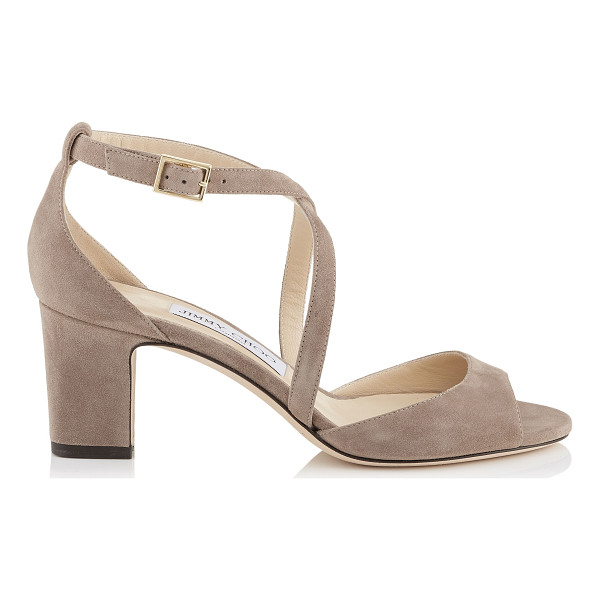 JIMMY CHOO CARRIE 65 Light Mocha Suede Peep Toe Sandals - This peep toe sandal's chunky heel and thick crossover...