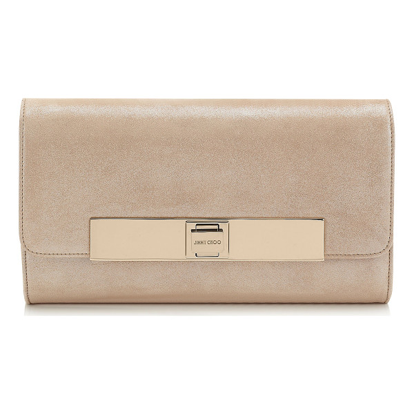 JIMMY CHOO Cat sand shimmer suede evening bag - A soft evening flap bag featuring an elegant Jimmy Choo....