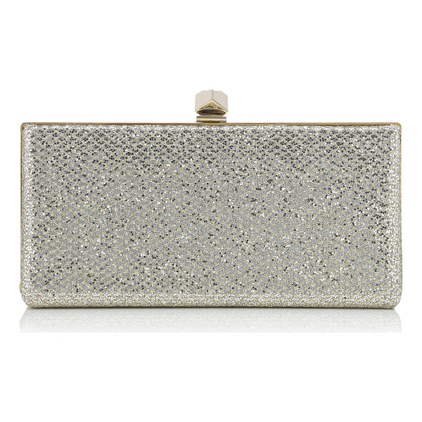 JIMMY CHOO CELESTE/S Champagne Glitter Fabric Clutch Bag with Cube Clasp - A strikingly modern clutch bag with a sleek silhouette....