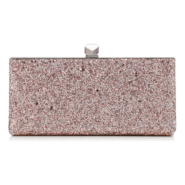 JIMMY CHOO CELESTE/S Tea Rose Metallic Coarse Glitter Fabric Clutch Bag with Cube Clasp - A strikingly modern clutch bag with a sleek silhouette....