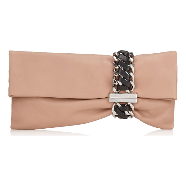 JIMMY CHOO Chandra ballet pink nappa clutch bag with woven double chain bracelet - An innovative, asymmetric shaped clutch bag, created by...