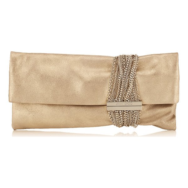 JIMMY CHOO CHANDRA Gold Shimmer Suede Clutch Bag - Metallic Shimmer Suede is a contemporary way to wear gold...