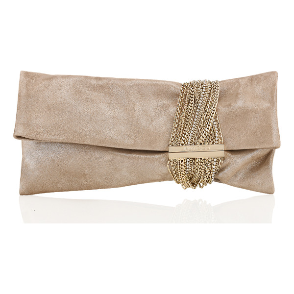 JIMMY CHOO CHANDRA Sand Shimmer Suede Clutch Bag - This folded clutch bag combines elegance with a rock 'n'...