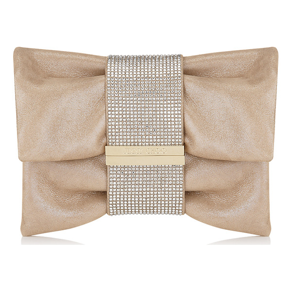 JIMMY CHOO CHANDRA/S Sand Shimmer Suede Clutch Bag with Hotfix Crystal Bracelet - Jimmy Choo's iconic Chandra clutch is now offered in a...