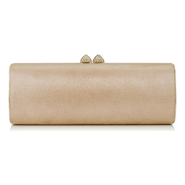 JIMMY CHOO Charm sand shimmer suede tube clutch bag with hotfix crystals - This elegant tubular shaped clutch bag is sleek and...