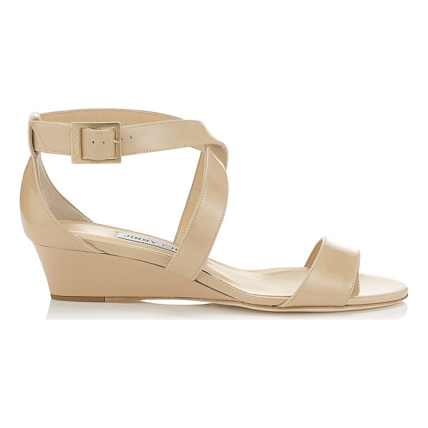 JIMMY CHOO CHIARA Nude Patent Leather Wedge Sandals - The perfect easy to wear sandal, the Chiara sports a low...