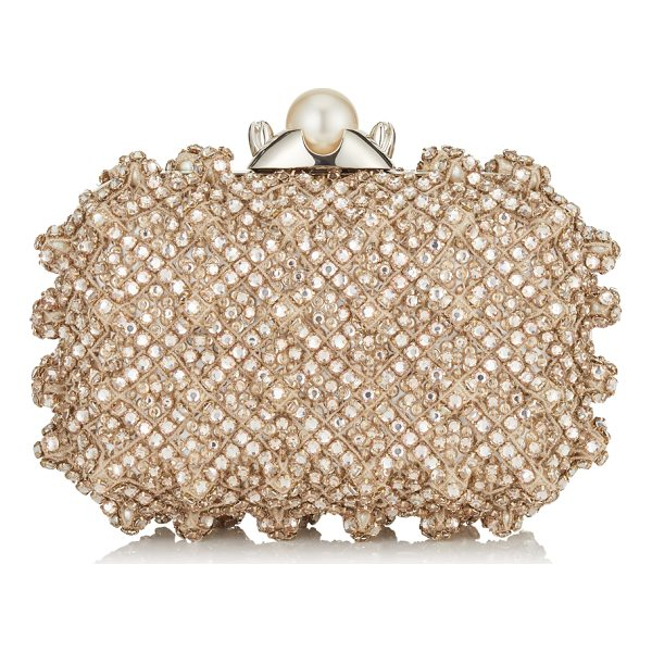 JIMMY CHOO CLOUD Pearl Satin Clutch Bag with Crystal Bead Embroidery - Turn heads this season with the Cloud box clutch in pearl...