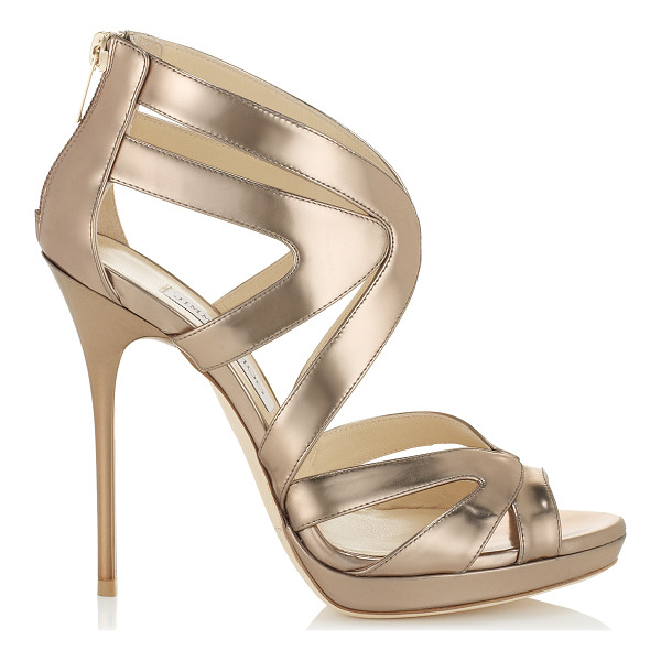 JIMMY CHOO Collar nude mirror leather platform sandals - These stunning cage sandals encase the foot with multiple...