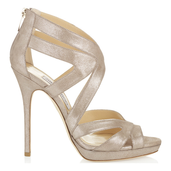 JIMMY CHOO Collar sand shimmer leather platform sandals - These stunning cage sandals encase the foot with multiple...