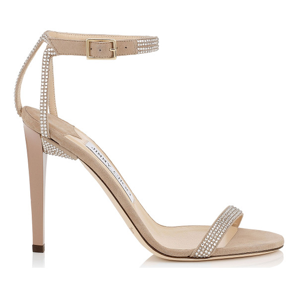 JIMMY CHOO Daisy 100 nude suede sandals with hotfix crystals - A red carpet sandal that is both simplistic and elegant. A...