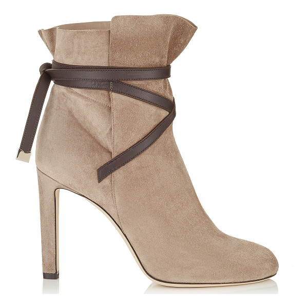 JIMMY CHOO DALAL 100 Light Mocha Cashmere Suede Ankle Booties with Dark Brown Leather Strap Detail - A beautiful shoe bootie can carry you through the seasons....