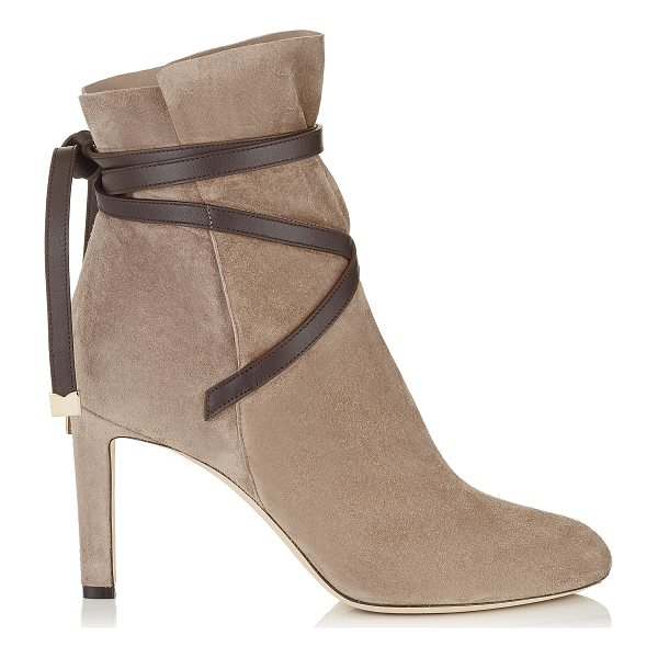 JIMMY CHOO DALAL 85 Dark Brown Cashmere Suede Ankle Booties with Leather Strap Detail - A beautiful shoe bootie can carry you through the seasons....