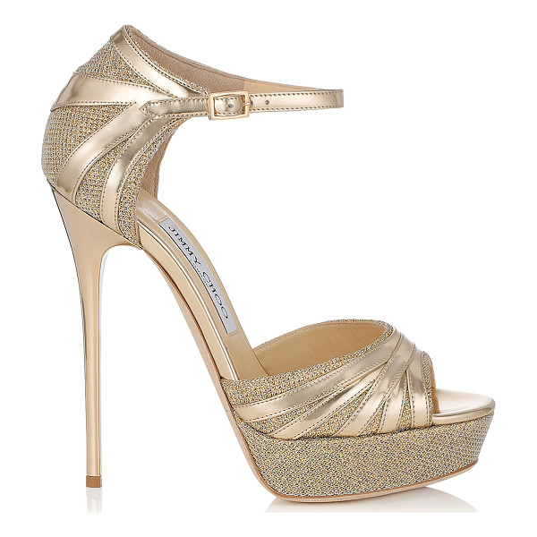 JIMMY CHOO Damsel gold lamé glitter and mirror leather platform sandals - A towering platform sandal with serious attitude. Made in...