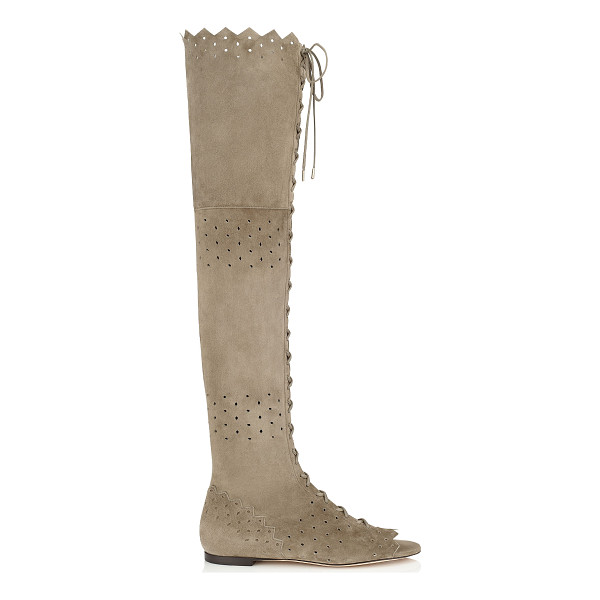 JIMMY CHOO Dexie flat light khaki cashmere suede over the knee peep toe boots - A bohemian inspired peep toe over the knee boot. With...