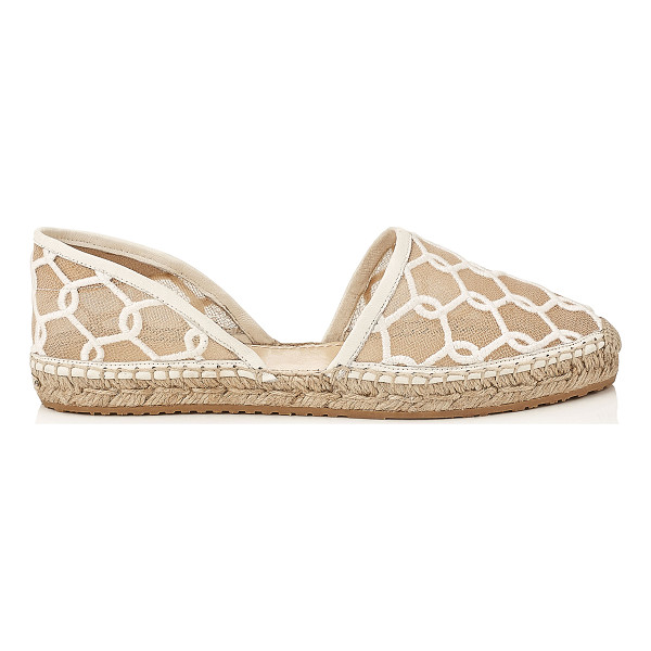 JIMMY CHOO DREYA Latte Chain Embroidered Lace Espadrille - This two-piece D'Orsay espadrille is a clean and versatile...
