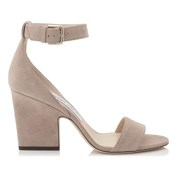 JIMMY CHOO EDINA 85 Ballet Pink Suede Wedges - Inspired by the 24:7 Icons capsule collection, the Edina in...