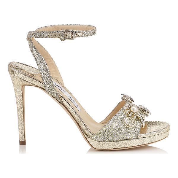JIMMY CHOO ELECTRA 100 Champagne Glitter Fabric Sandals with Jewelled Buttons - Electra is a simple two piece platform sandal with elegant...