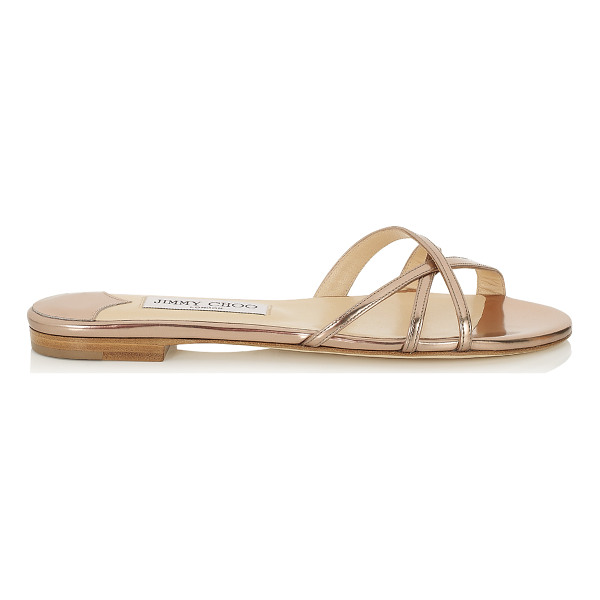 JIMMY CHOO Erin nude mirror leather flat sandals - From pretty dresses to flowing kaftans or cute shorts -...