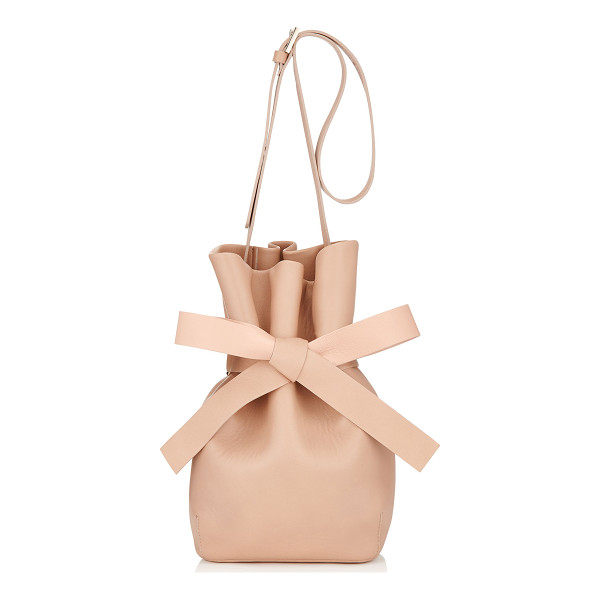 JIMMY CHOO Eve ballet pink nappa leather bucket bag - Eve brings the bondage ballerina inspiration alive with a...