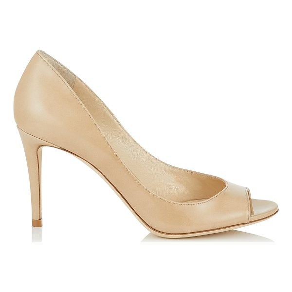 JIMMY CHOO EVELYN 85 Nude Patent Leather Peep Toe Pumps - A versatile and contemporary peep toe pump on a wearable...