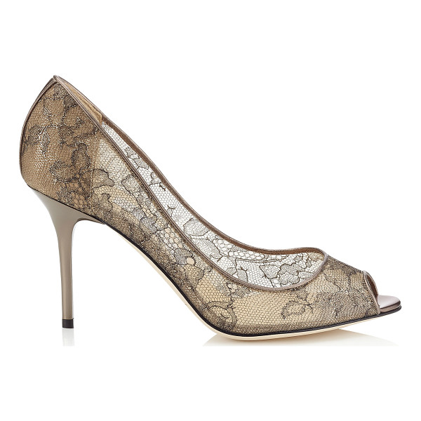 JIMMY CHOO Evelyn light honey metallic lace peep toe pumps - A timeless peep toe pump on a wearable heel height. Leather...