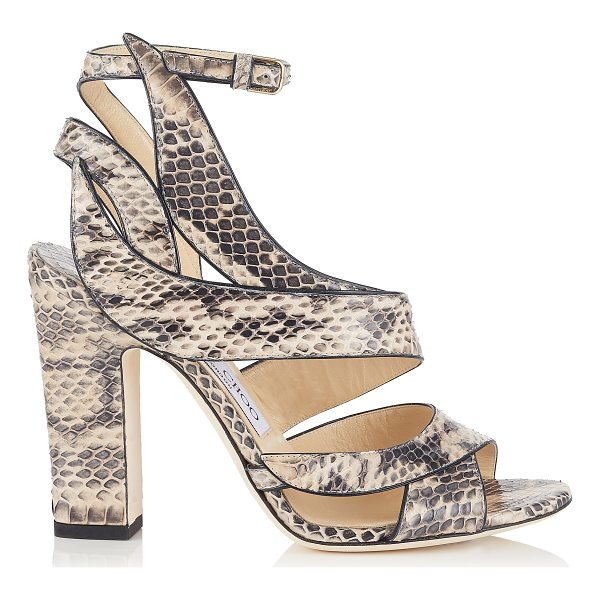 JIMMY CHOO FALCON 100 Nude Elaphe Sandals - In nude elaphe, the Falcon sandal portrays a powerfully...