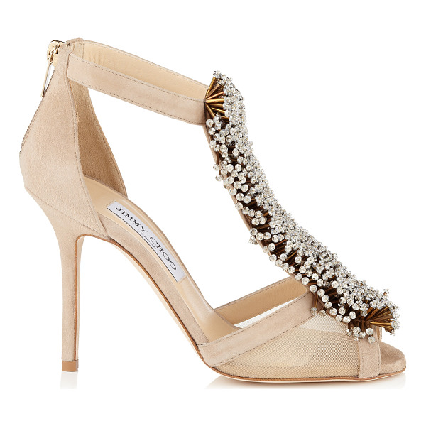 JIMMY CHOO Feline nude suede and mesh sandals with beaded detail - The beaded adornment really takes centre stage on this...