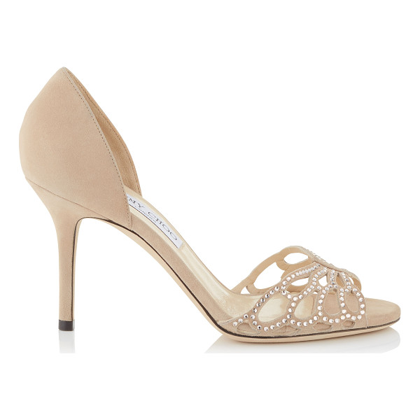JIMMY CHOO Fergis 85 nude suede with hotfix crystals and satin sandals - An elegant and timeless evening Dorsay peep toe sandal,...