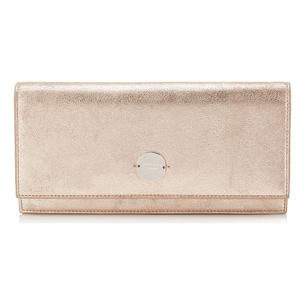 JIMMY CHOO FIE Ballet Pink Metallic Leather Clutch Bag - The Fie clutch in ballet pink metallic leather, has a clean...