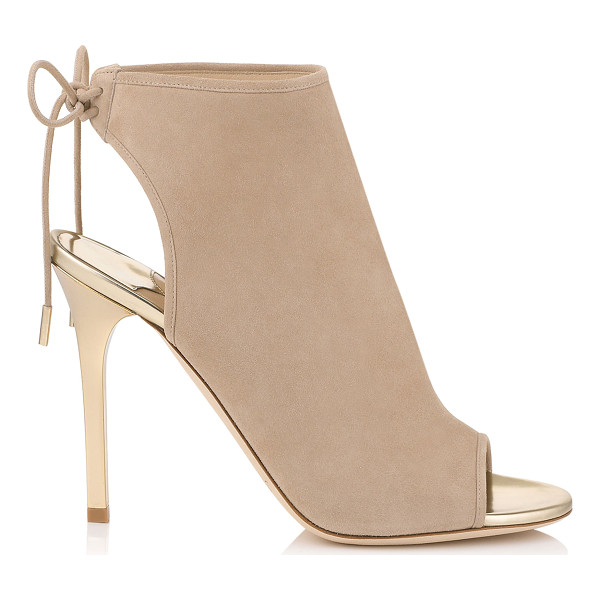 JIMMY CHOO Froze nude suede and champagne mirror leather sandal booties - Froze is a rich and effortless ankle sandal bootie. Cut...