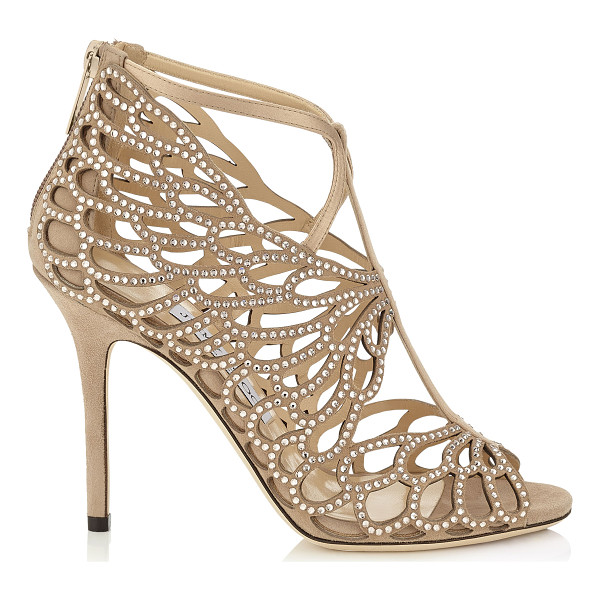 JIMMY CHOO Fyonn 100 nude suede sandals - A beautifully sculpted sandal with a leaf like laser cut...