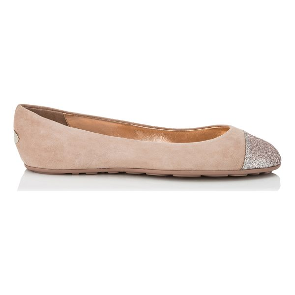 JIMMY CHOO GAZE FLAT Ballet Pink Suede Ballerina Flats with Tea Rose Fine Glitter Toe Cap Detail - The Gaze flat in ballet pink suede is a true round toe...
