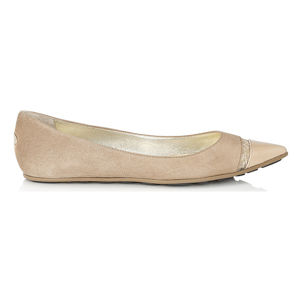 JIMMY CHOO Ginny nude suede, lace and patent pointy toe flats - Wear these dainty flat pumps in nude suede, lace and patent...