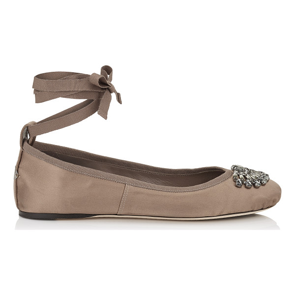 JIMMY CHOO GRACE FLAT Light Mocha Satin and Grosgrain Ribbon Ballerina Flats - Grace is a beautiful jewelled ballerina with a leather...