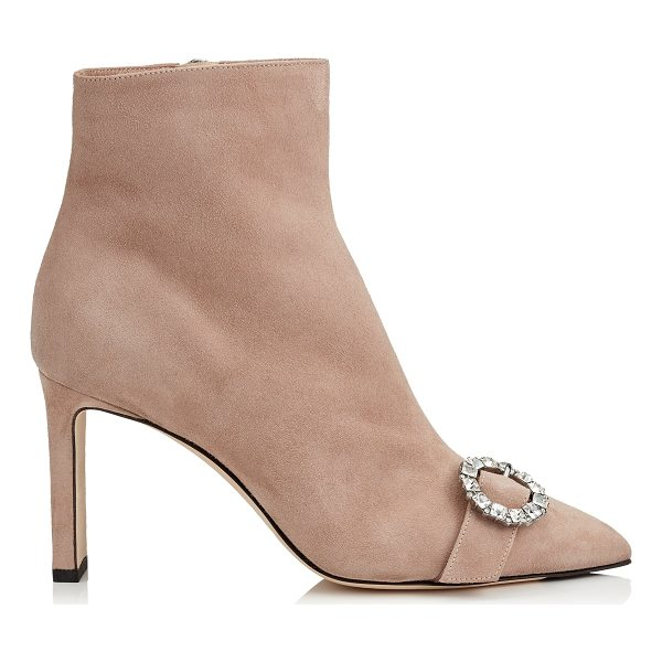 JIMMY CHOO HANOVER 85 Ballet Pink Suede Booties with Crystal Buckle - Make a statement this season in the Hanover booties in...