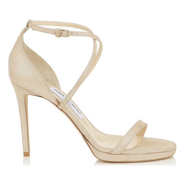 JIMMY CHOO HARPER 100 Sand Shimmer Suede Sandals - Set to be a red carpet favourite, Harper 100 in sand...